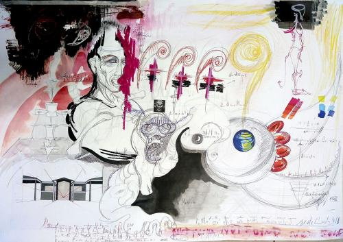 Studio per fauno di Michelangelo, mixed media on paper, 2018