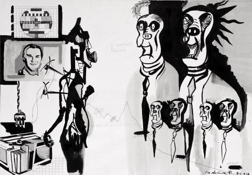 Le Rivolutionelle Francaise, Grafite, penna e china su carta, 100x70, 2015