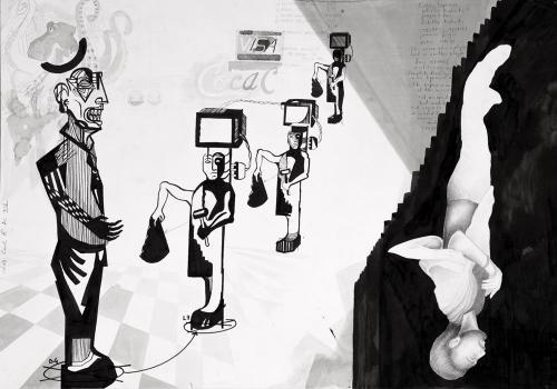 Arrivano i Nichilisti, Grafite, penna e china su carta, 100x70, 2015