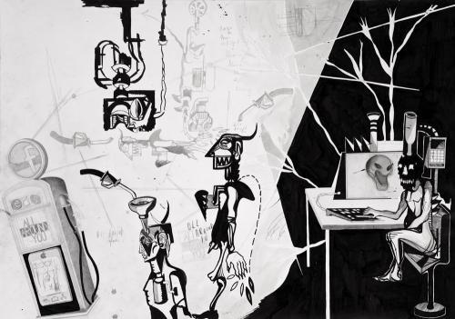 Oll araund iu, Grafite, grafite, penna e china su carta, 100x70, 2015