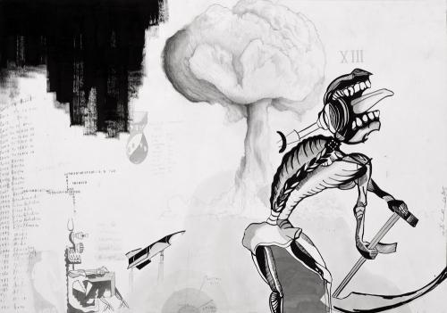 Splash, Bang, Boom, Kaboom, grafite, penna e china su carta, 100x70, 2015