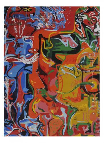 Totem Lesson 3, enamel painting, 200x150, 2005