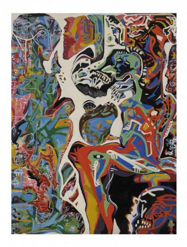 Amletica, enamel painting on paper, 200x150, 2005