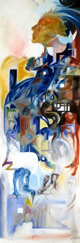 Bildungsroman, oil on wood, 140x60, 2002