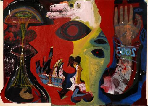 Los Alamos, mixed media on wood, 75x100, 2004
