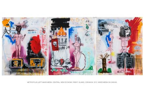 Metropolis, mixed media on canvas, (left- mass media, centr.-new economy, right-slums), triptych 228x94, 2012