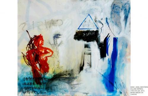 Bank, mixed media on canvas, 150x130, 2012