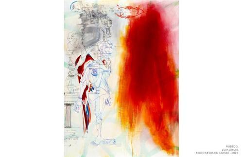 Rubedo, mixed media on canvas, 100x135, 2013