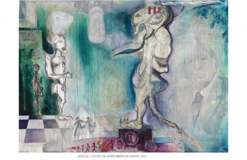 School, mixed media on canvas, 110x150, 2012