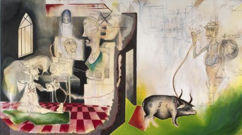 P.E.S. Prole Esponenzialmente Stupida, mixed media on canvas, 182x120, 2013