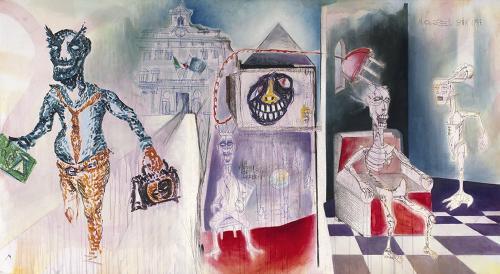 Gli effetti del Buon Governo, mixed media on canvas, 102x182, 2013