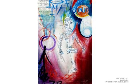 Chi l'ha detto cosa?, mixed media on canvas, 104x65, 2013