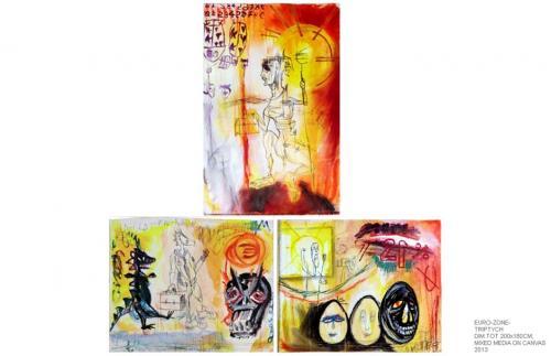 Euro zone, mixed media on canvas, 200x180, 2013