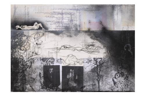 f31- Sail to the moon, monotipo puntasecca e collage, 100x70, 2006