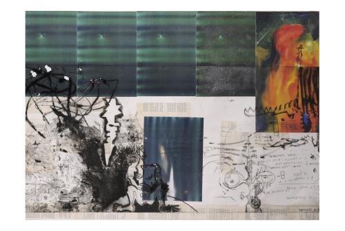 f32- There there, monotipo puntasecca e collage, 100x70, 2006