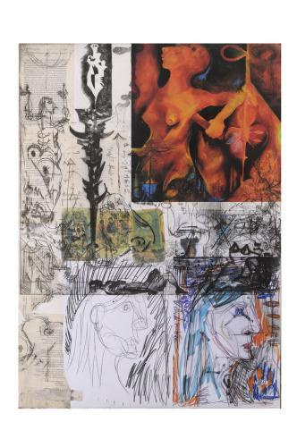 f33- The gloaming, monotipo puntasecca e collage, 100x70, 2006