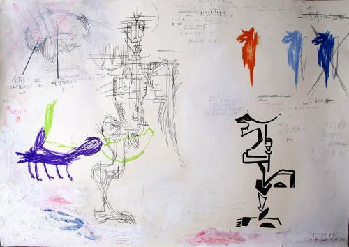 Brain – Genealogy, mixed media on paper, 100x70, 2011