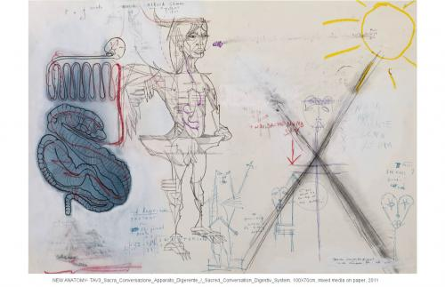 Digestiv system – Sacred Conversation, mixed media on paper, 100x70, 2011
