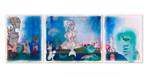 How to desire the paradise, mixed media on canvas, triptych 300x100, 2010