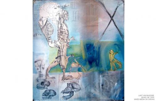 Last knowledge, mixed media on canvas,80x60, 2009